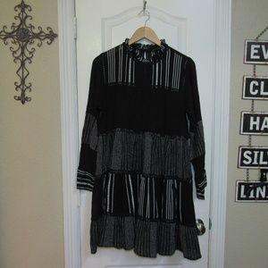 NWOT Zara Woman Black Boho Dress Sz.L